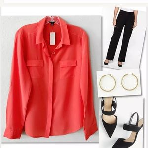 🎁 ANN TAYLOR SILK ORANGE BUTTON DOWN SHIRT $98